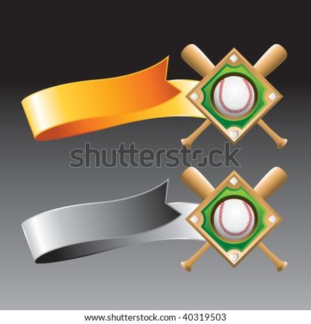 baseball diamond on orange and gray ribbons - stock vector