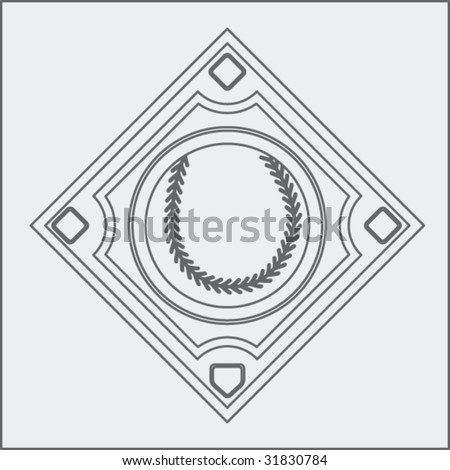 baseball diamond sketch - stock vector