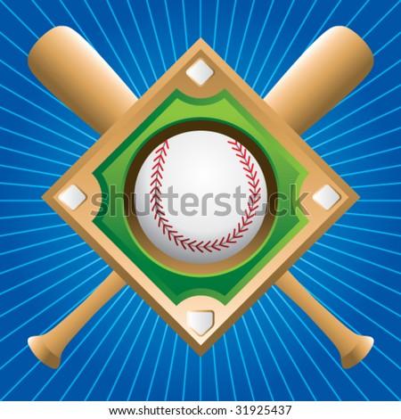 baseball diamond with crossed bats on blue starburst - stock vector