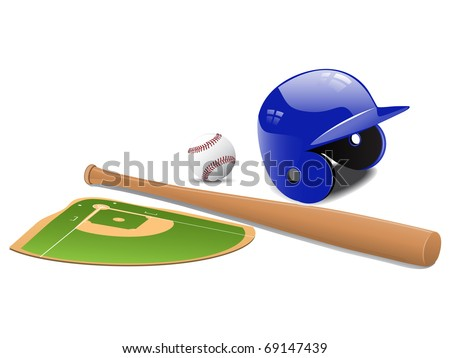 Baseball elements - field, ball and accessories. Vector - stock vector