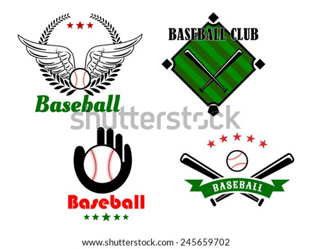 Baseball emblems or badges include baseball balls, glove, crossed bats, people hand, field and wings supplemented with laurel wreath, stars and ribbon banner