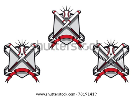 Baseball emblems set for sports design or mascot, such a logo. Jpeg version also available in gallery - stock vector