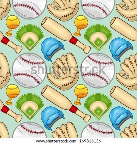Baseball equipment Seamless pattern background - sport - Illustration - stock vector