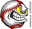 Baseball Face Cartoon Ball Image - stock vector