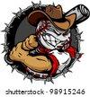 Baseball Face Cartoon Cowboy Vector Illustration - stock vector