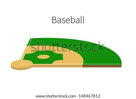 Baseball Field isolated on white background. Vector illustration. - stock vector