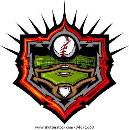 Baseball Field with Baseball Vector Image Template - stock vector