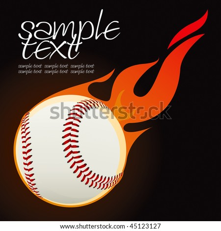 Baseball fire ball vector drawing - stock vector