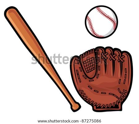 baseball glove, ball and  bat - stock vector