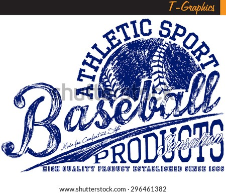 baseball graphics,vintage graphics on white background - stock vector