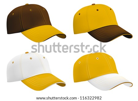 Baseball hats template. Mesh & gradients. - stock vector