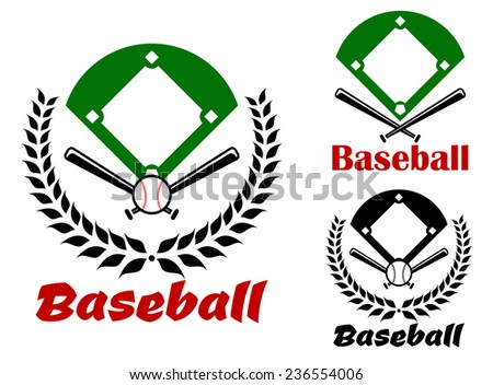 Baseball heraldic emblems or badges with an overview of the pitch and crossed bats in a laurel wreath and one without the wreath