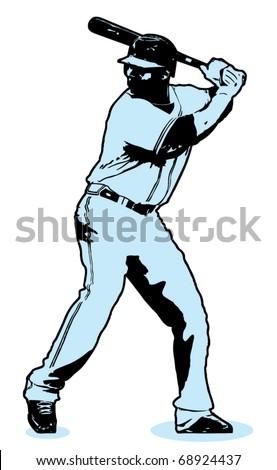 Baseball Hitter Illustration - stock vector