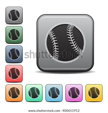 Baseball Icon Square Icon with Color Variations - stock vector