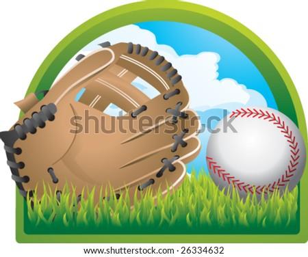 baseball in backyard - stock vector