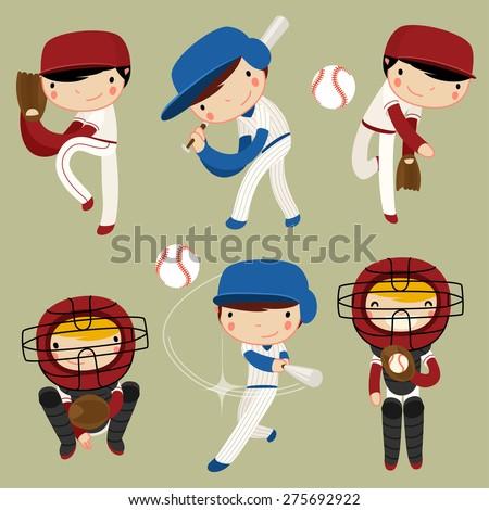 baseball kids character set. vector illustration - stock vector
