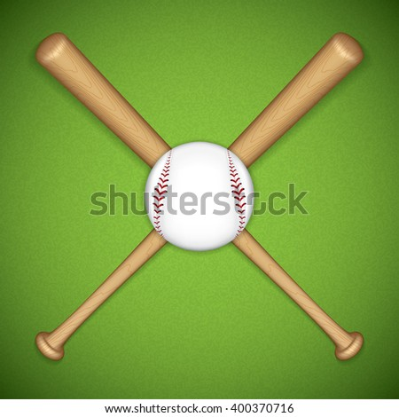 Baseball leather ball and wooden bats on green background - stock vector