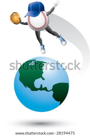 baseball man around the world - stock vector