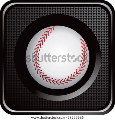 baseball on glossy diamond web button - stock vector