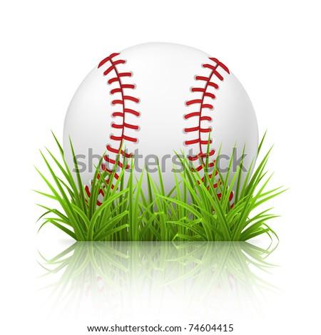 Baseball on grass, 10eps - stock vector