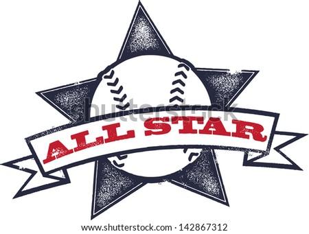 Baseball or Softball All Star Graphic - stock vector
