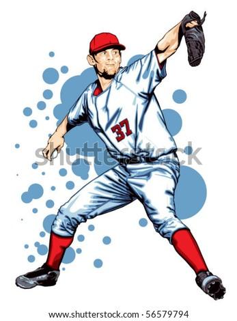 Baseball Pitcher - stock vector