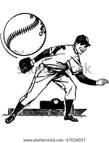 Baseball Pitcher - Retro Clipart Illustration - stock vector