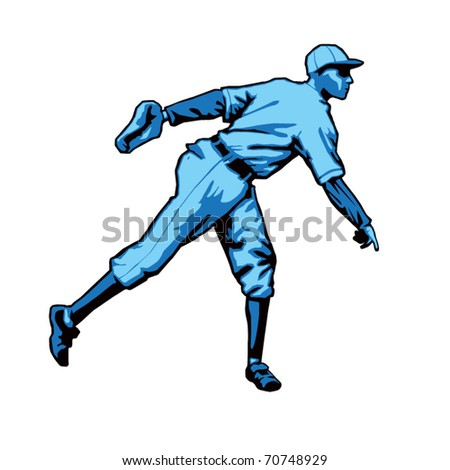 Baseball Pitcher Right handed - stock vector