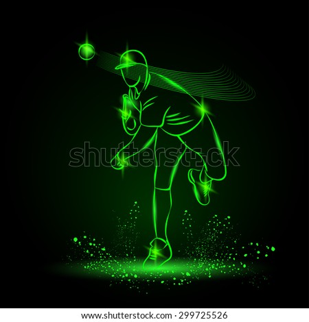 Baseball pitcher throws ball. neon style