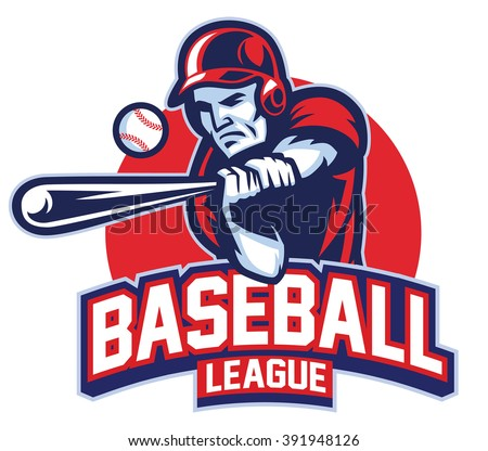 Baseball player in action - stock vector