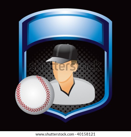 baseball player in blue display - stock vector