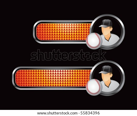 baseball player orange checkered tabs - stock vector