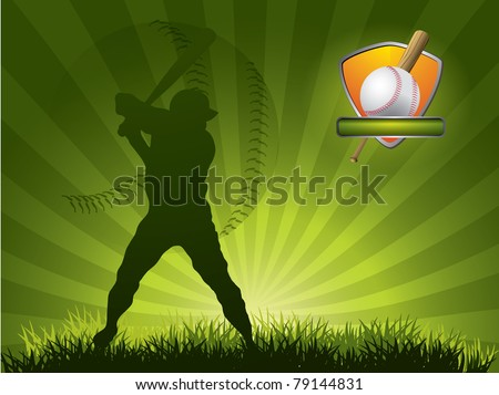 Baseball player strikes the ball with a stick - stock vector