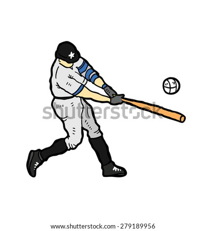 baseball player swinging bat - stock vector