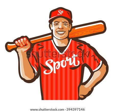 baseball player vector logo design template. game, sport or athlete icon - stock vector