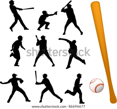 baseball players collection - stock vector