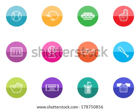 Baseball related icon series in color circles.  - stock vector