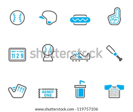 Baseball related icon series in duo tone color style - stock vector