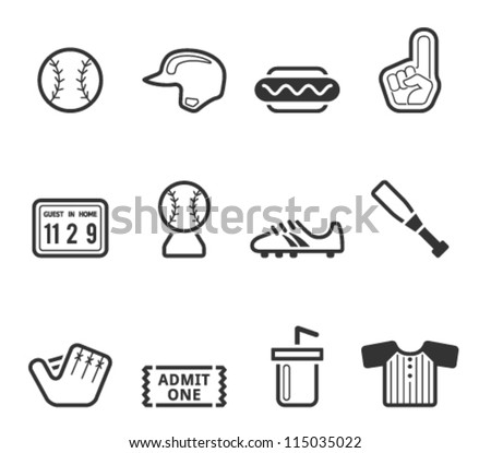 Baseball related icons in black and white - stock vector