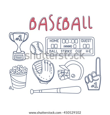 Baseball Related Object And Equipment Set - stock vector