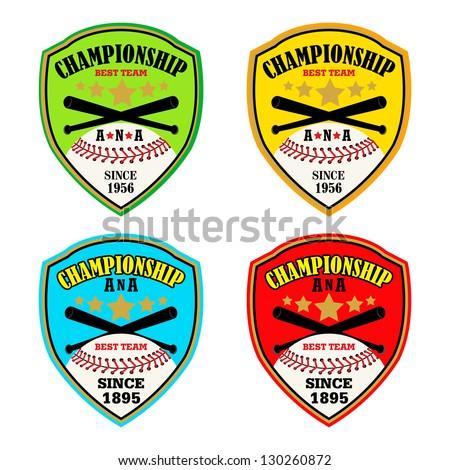 Baseball Shield Emblem / Vector Baseball Badge / Vector Baseball Labels - stock vector