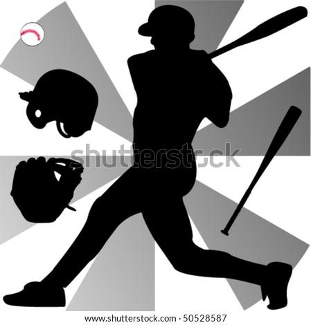 baseball silhouette - vector - stock vector