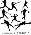 Baseball silhouettes - stock vector