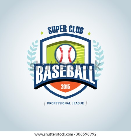 Baseball sport badge logo design template and some elements for logos, badge, banner, emblem, label, insignia, T-shirt screen and printing. Baseball logotype template. - stock vector