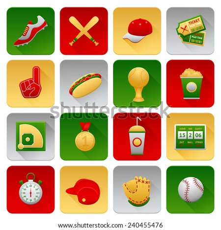 Baseball sport icons set with glove field hotdog hat isolated vector illustration - stock vector