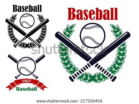 Baseball sporting emblems or symbols with ball, bats and  laurel wreath isolated on white background. For tournament ot sports team design  - stock vector