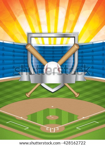 Baseball stadium.Vector illustration - stock vector