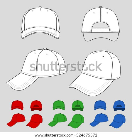 Baseball, tennis cap colored vector illustration featured front, back, side, top, bottom isolated on grey