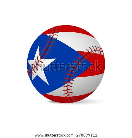 Baseball with flag of Puerto-Rico, isolated on white background. Vector EPS10 illustration.  - stock vector
