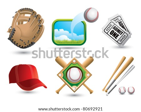 Baseballs, bats, diamond, cap, tickets, and glove on white backdrop - stock vector